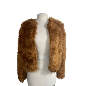 Forever 21 faux fur cropped jacket copper